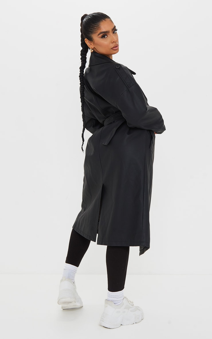 Black Faux Leather Drop Arm Midi Trench 2