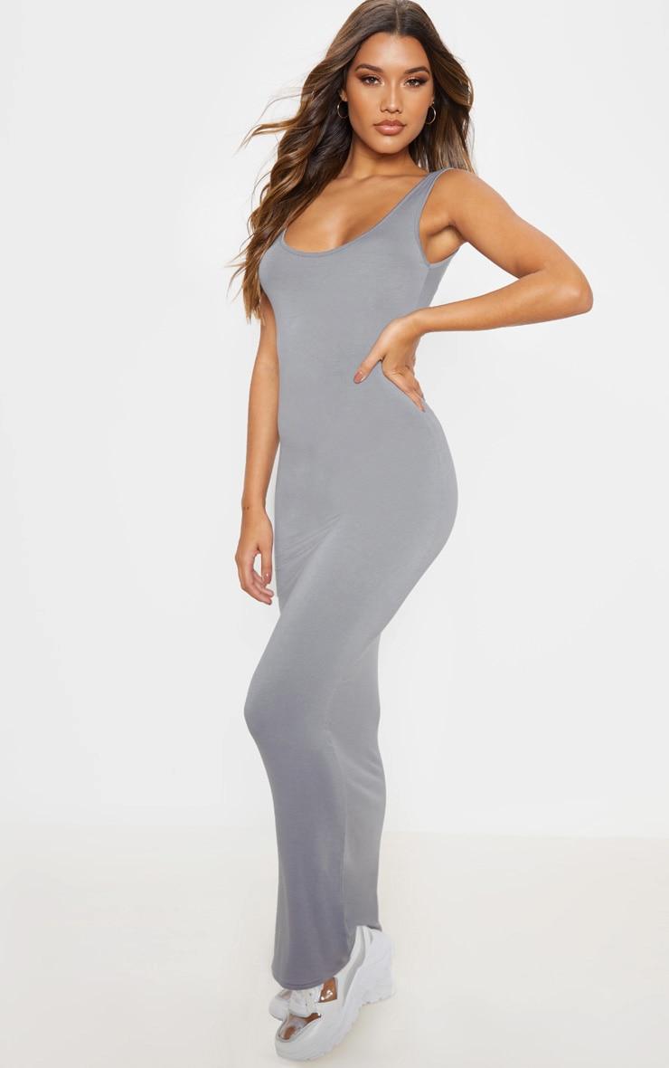 Charcoal Grey Basic Maxi Dress 1