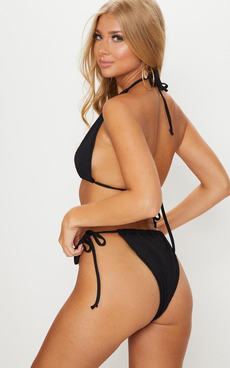 Black Crinkle High Neck Bikini Top 2