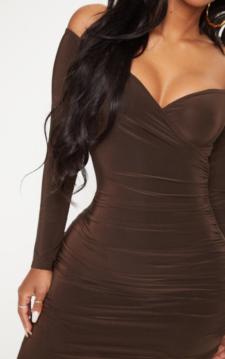 Shape Chocolate Slinky Ruched Detail bardot Dress 5