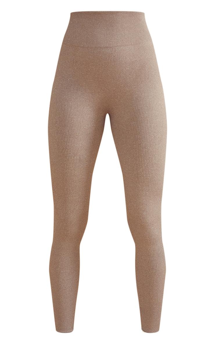 Taupe Marl Ribbed Seamless High Waist Gym Leggings 5