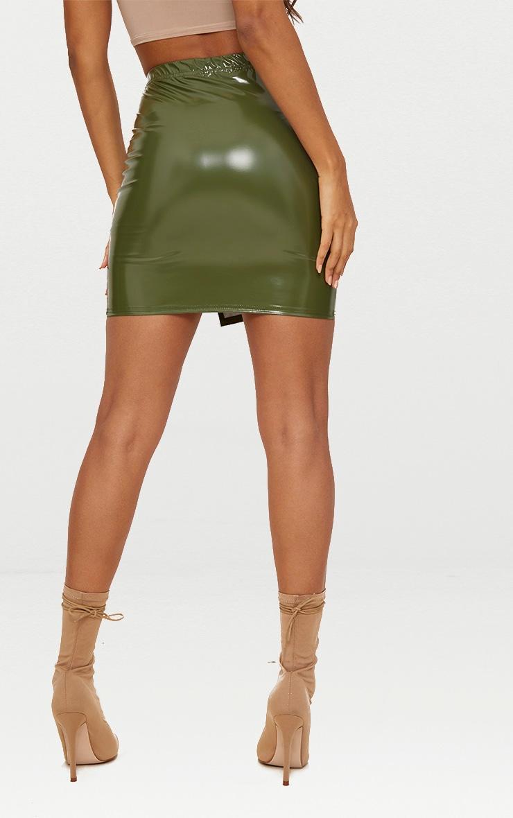 Khaki Vinyl Side Split Mini Skirt 4