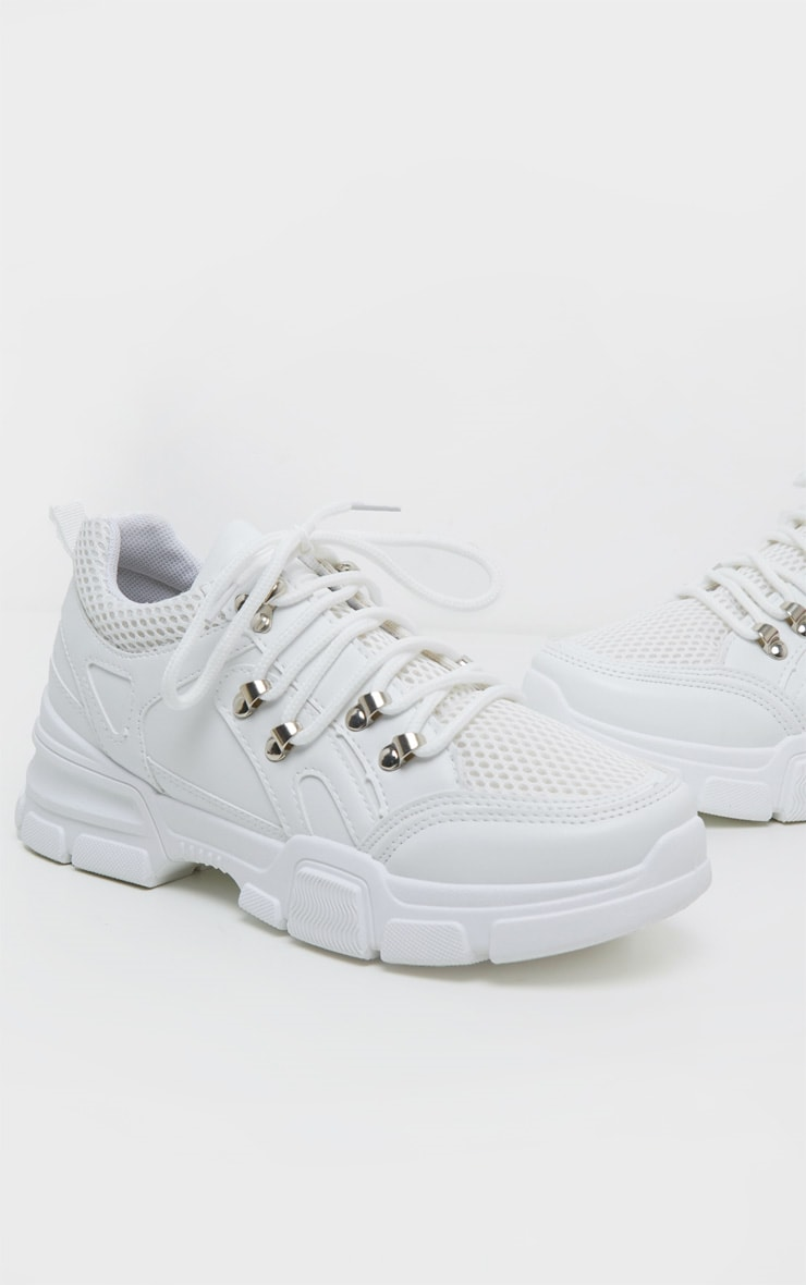 White Hiker Eyelet Detail Lace Up Trainer 3