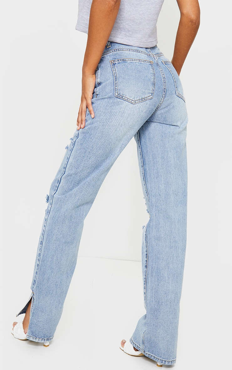 Light Wash Distressed Split Hem Jeans 3