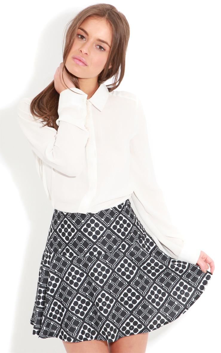 Gabby Mono Graphic Print Drop Waist Skater Skirt  4