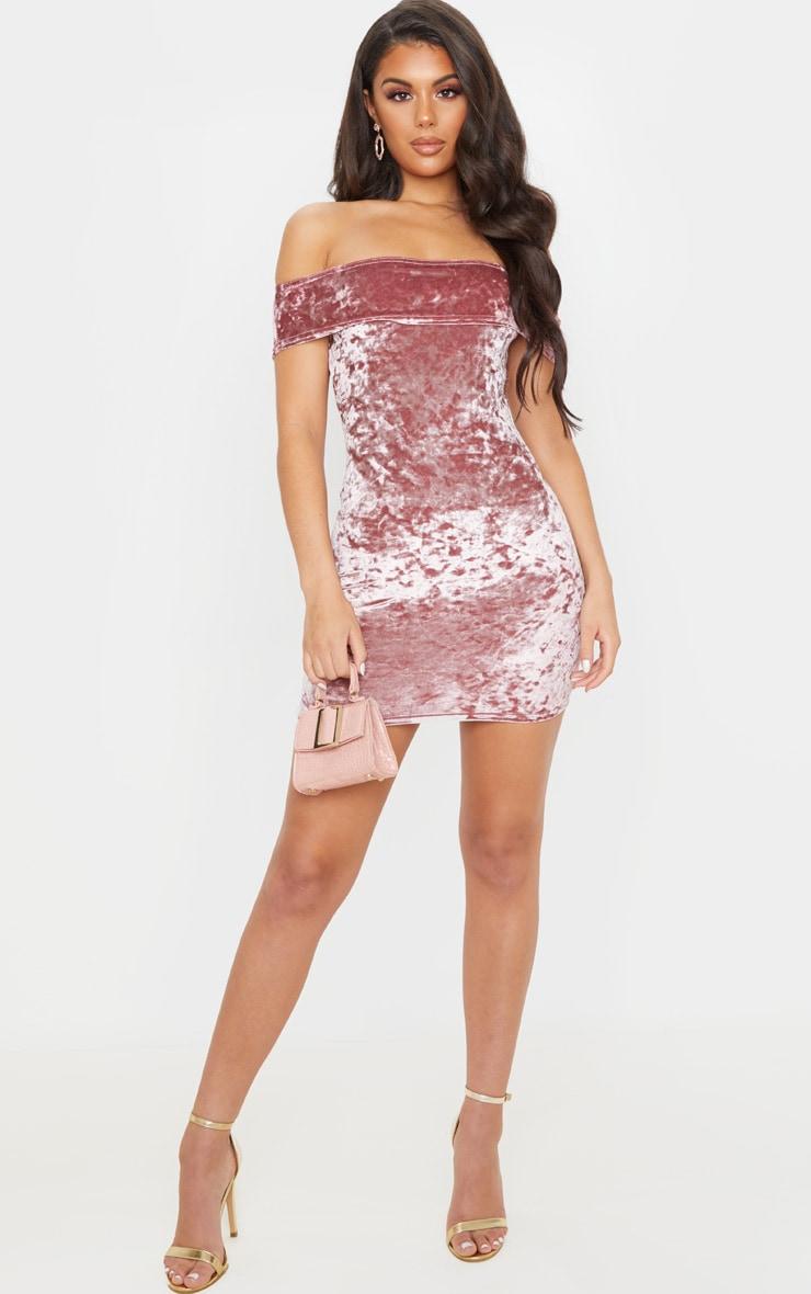 Rose Crushed Velvet Bardot Bodycon Dress 4