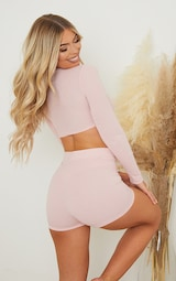 PRETTYLITTLETHING Dreams Blush Pink Badge Mix and Match Rib PJ Top 2