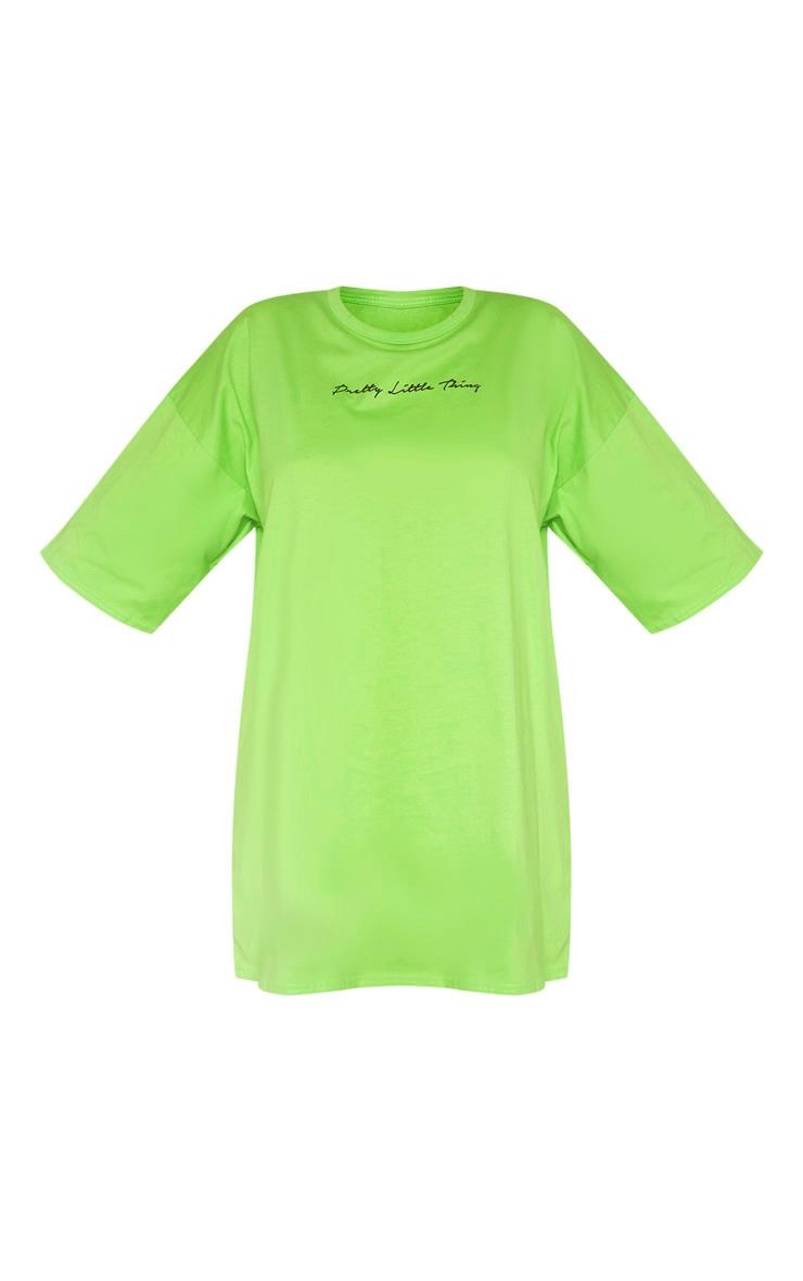 PRETTYLITTLETHING Lime T Shirt Dress 3