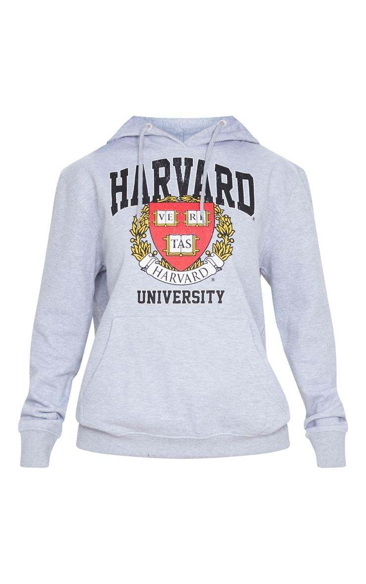 Grey Marl Harvard Slogan Hoodie 6