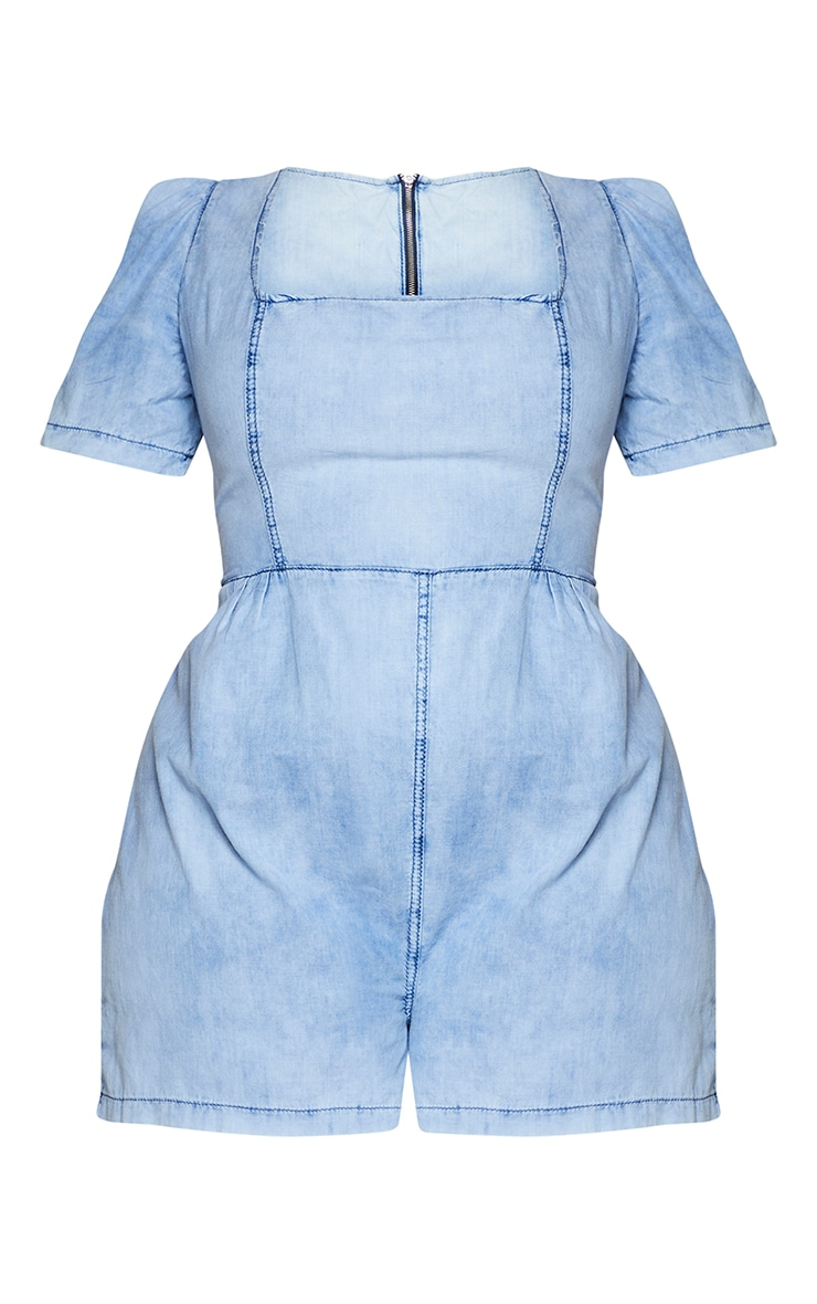 Plus Light Blue Wash Square Neck Denim Playsuit 5
