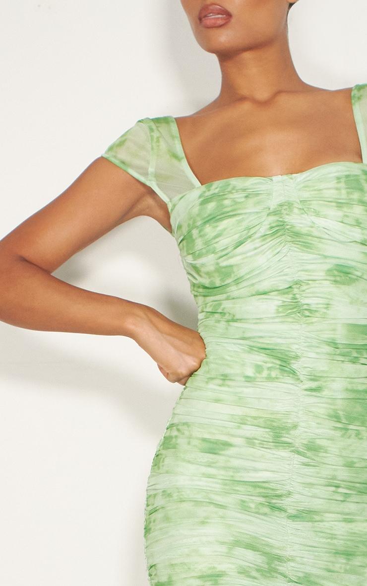 Lime Green Tie Dye Printed Mesh Ruched Midi Dress 4