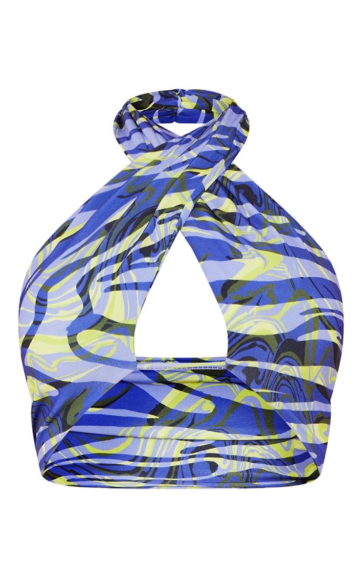 Blue Zebra Swirl Print Slinky Halterneck Cut Out Detail Top 5