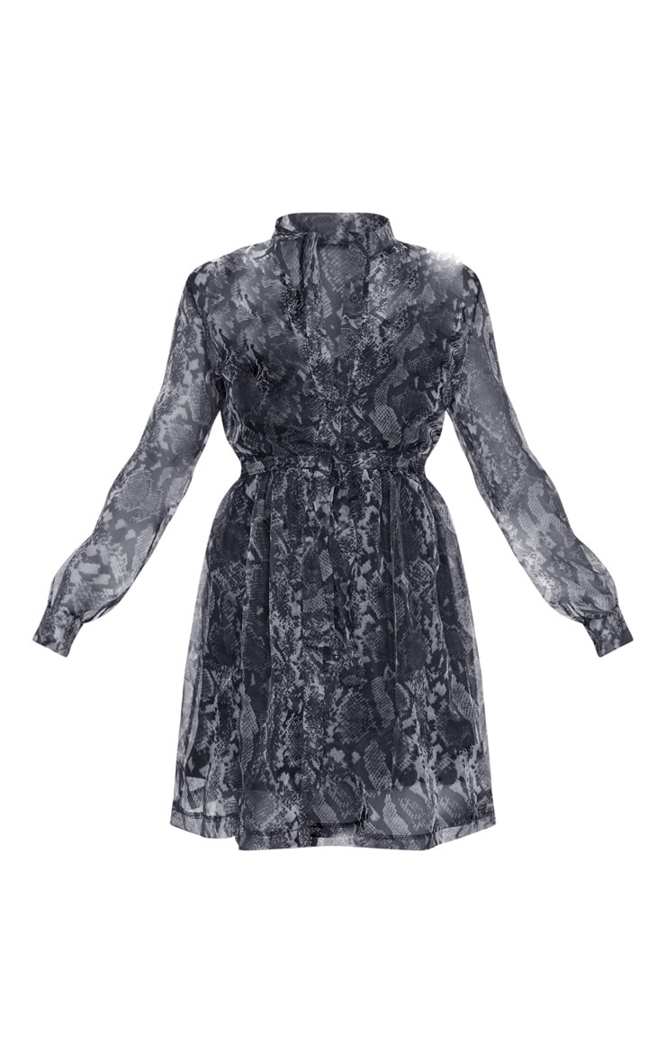 Grey Snake Print Organza Tie Waist Long Sleeve Shirt Dress 4