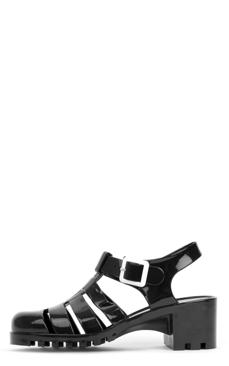 Kassidy Black Jelly Shoe With Cleated Sole 1