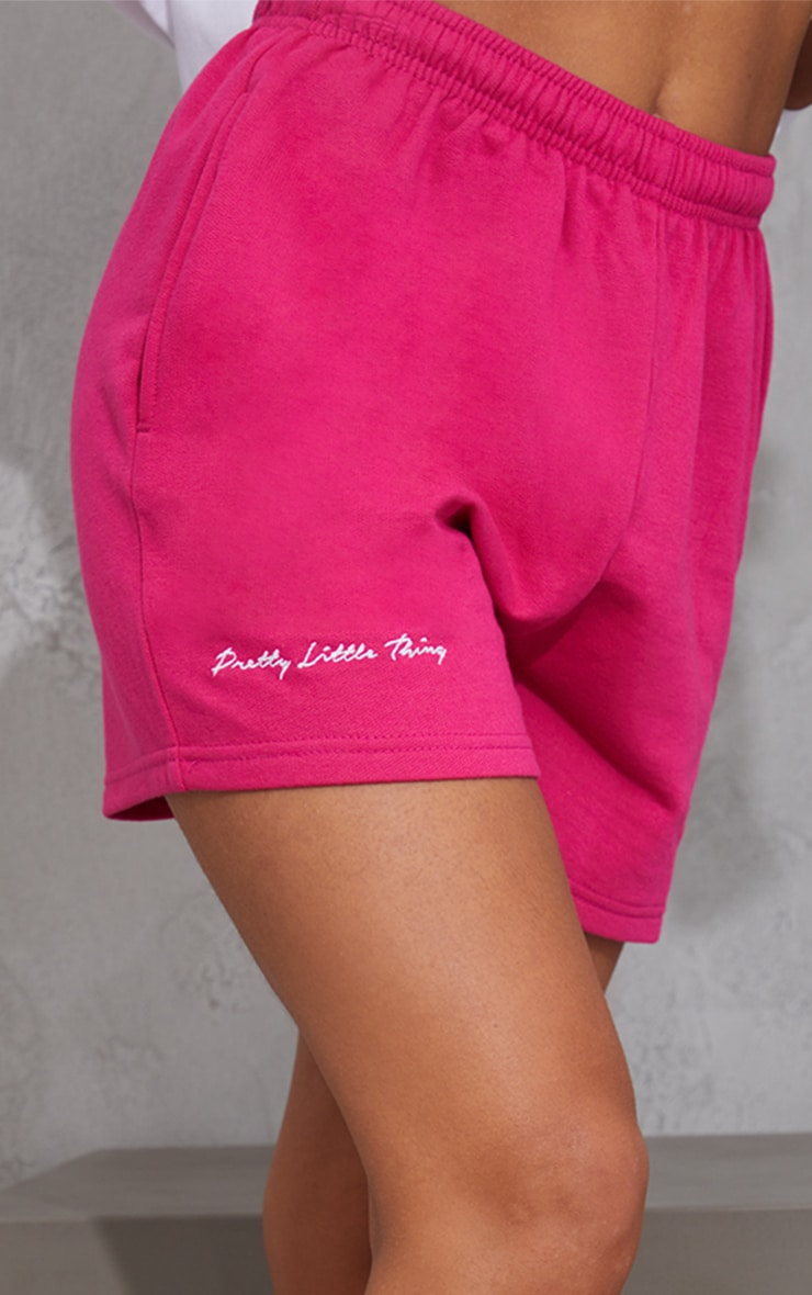 PRETTYLITTLETHING Hot Pink Embroidered Logo Sweat Shorts 5