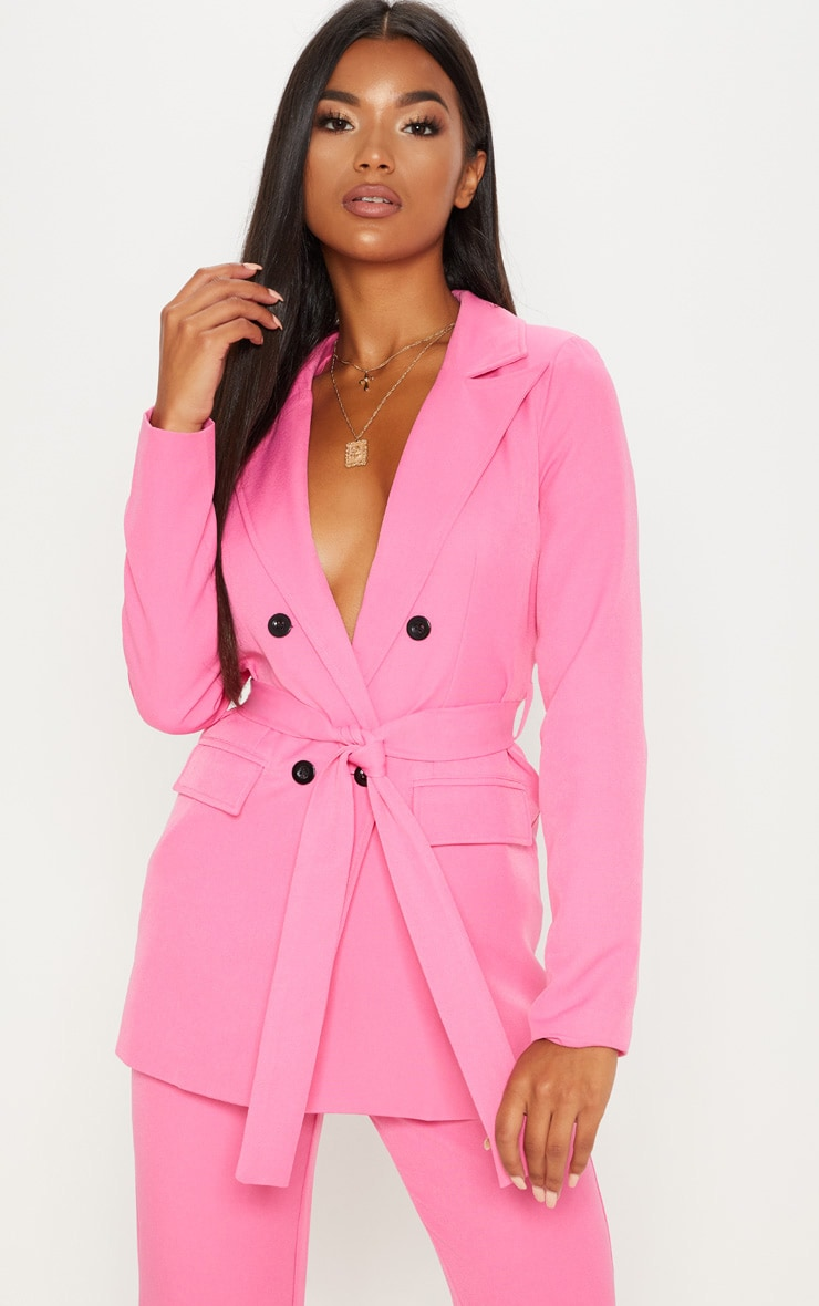 a0752bac0 Pink Belted Longline Woven Blazer