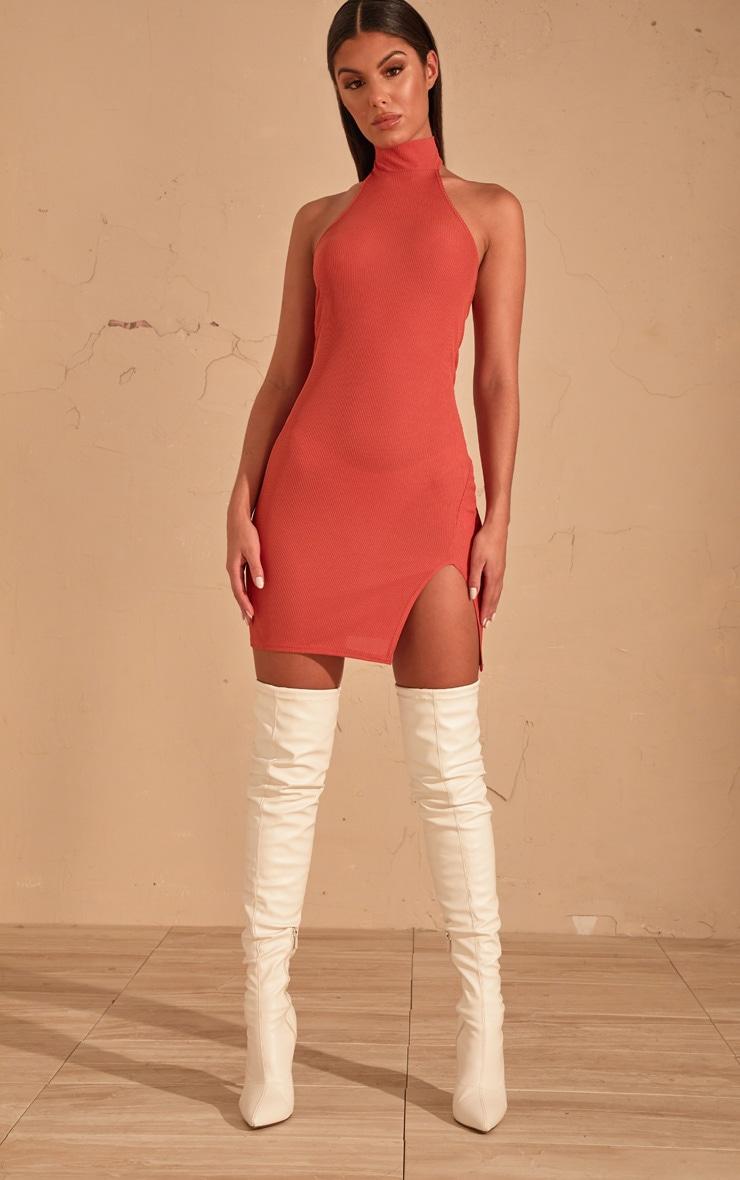 Auburn Ribbed High Neck Split Detail Bodycon Dress 1