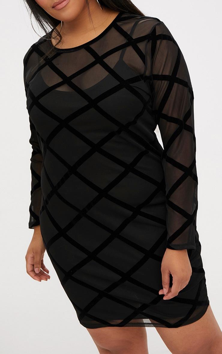 Plus Black Diamond Mesh Midi Dress 5