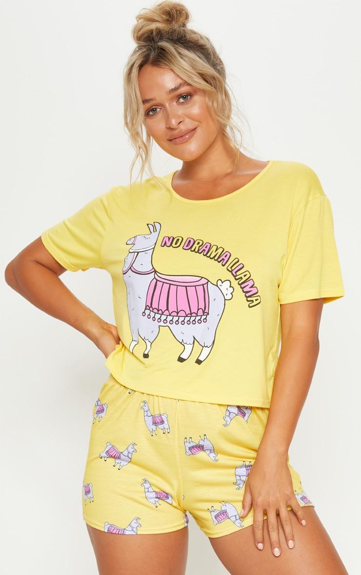 Yellow No Drama Llama PJ Set