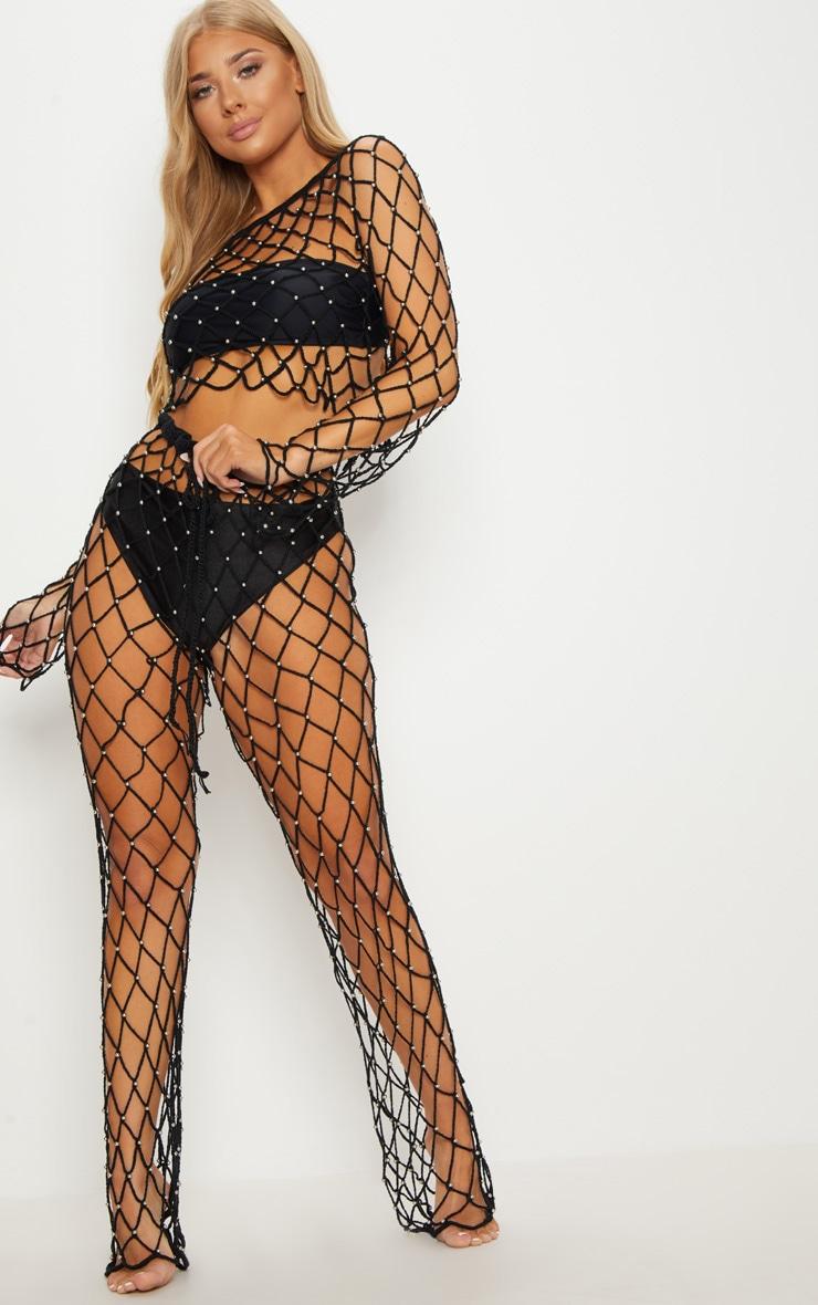 Black Crochet Beaded Trousers 1