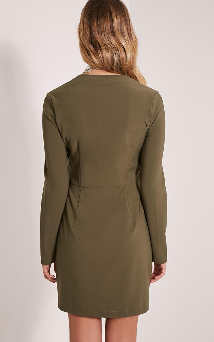Charlene Khaki Zip Detail Bodycon Dress 2