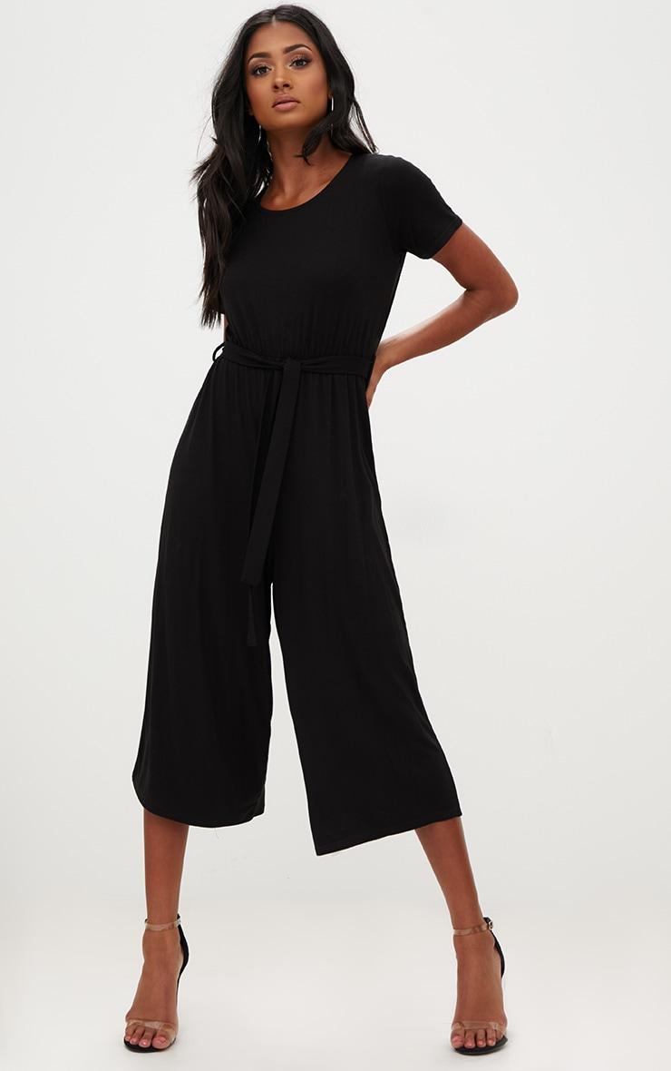 Black Jersey Short Sleeve Culotte Jumpsuit 1