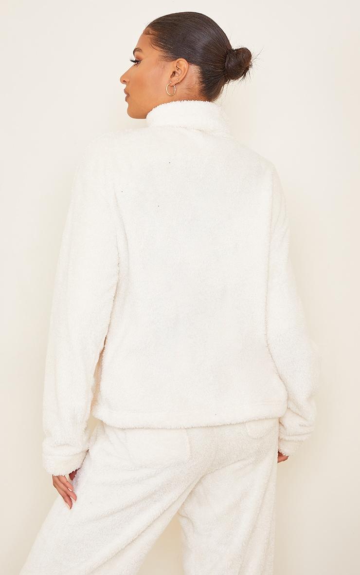Cream Borg High Neck Zip Front Sweat Jacket 2