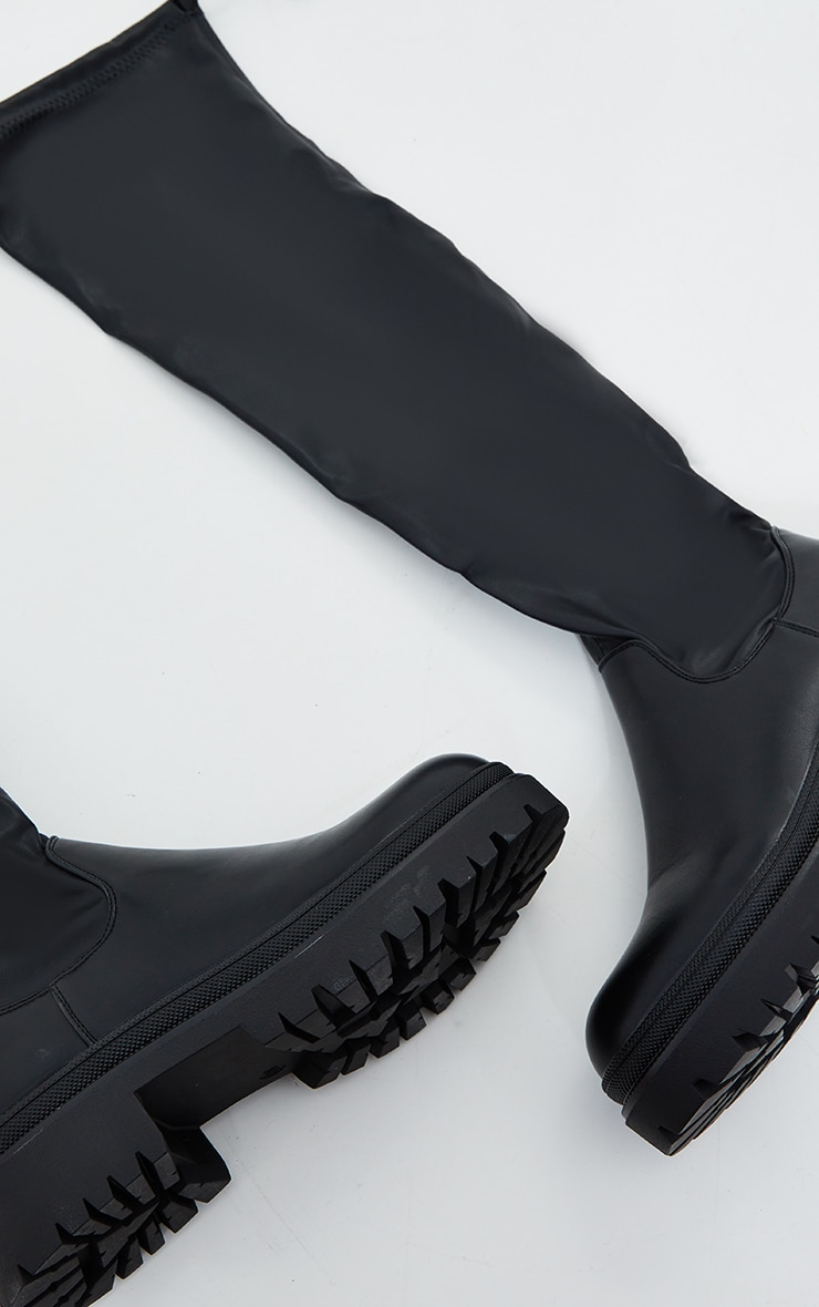 Black PU Over The Knee Chunky Boots 3