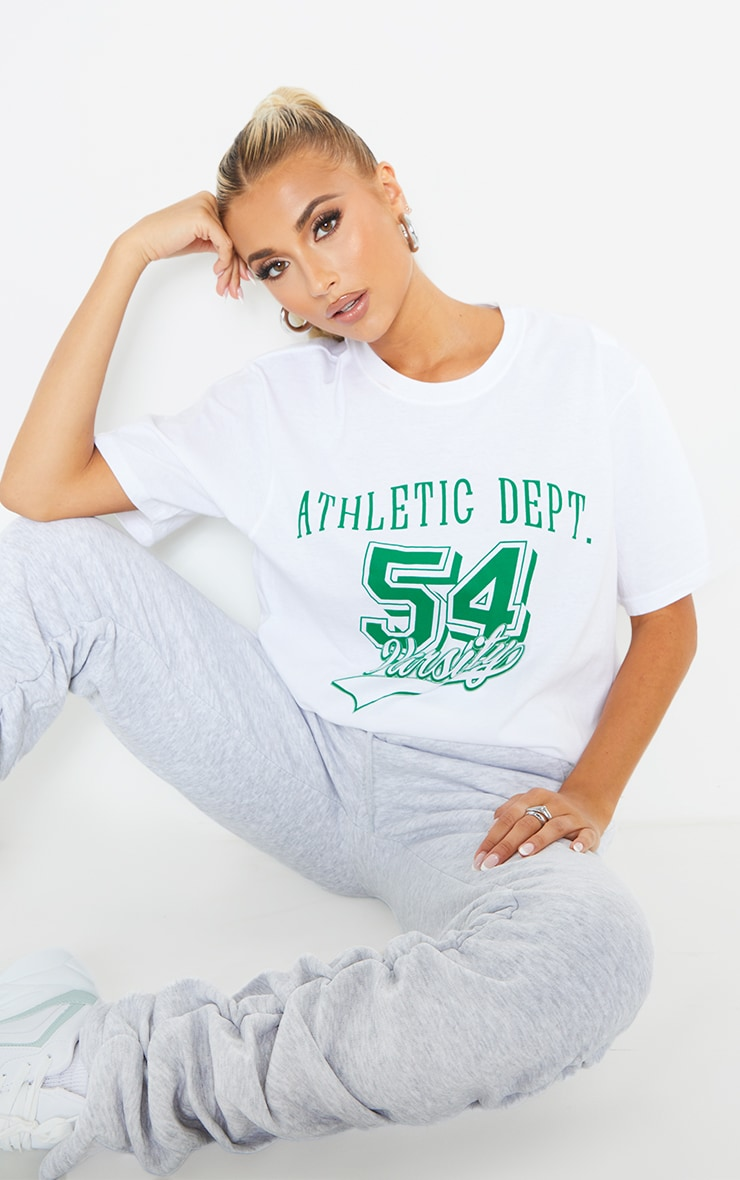 White Althetic Department Printed T Shirt 1