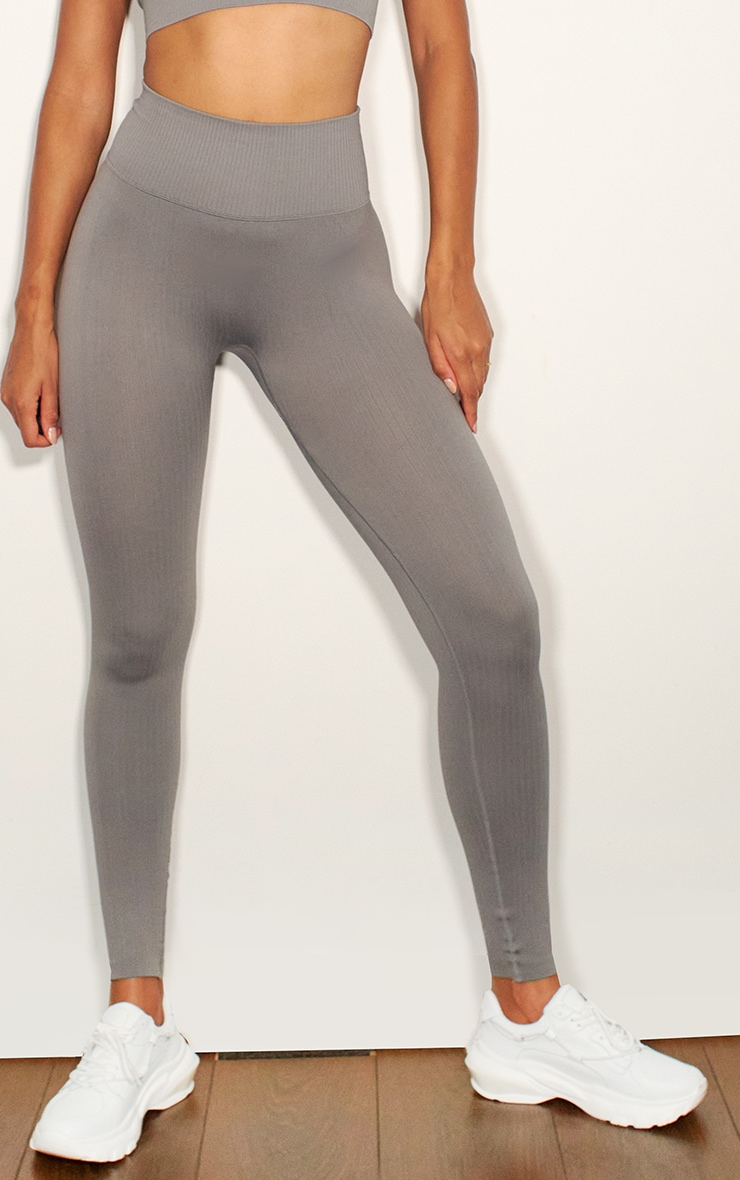 Grey Ribbed Seamless Sports Legging 2