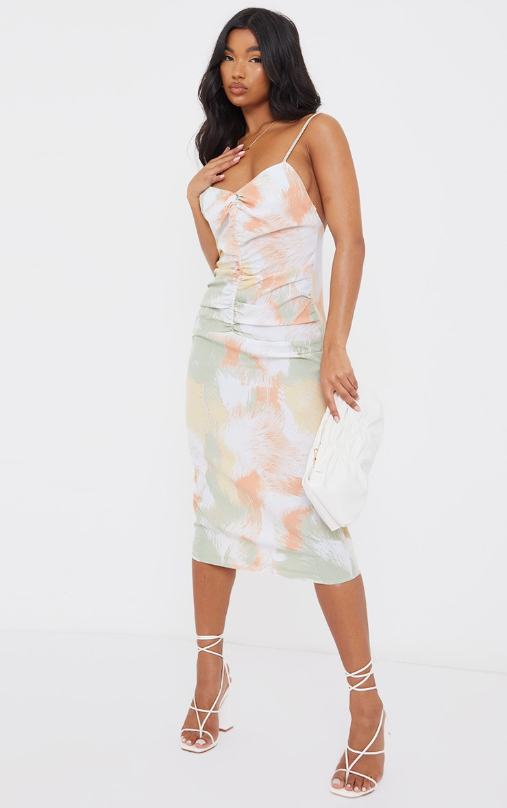 Multi Printed Strappy Ruched Centre Midi Dress 1