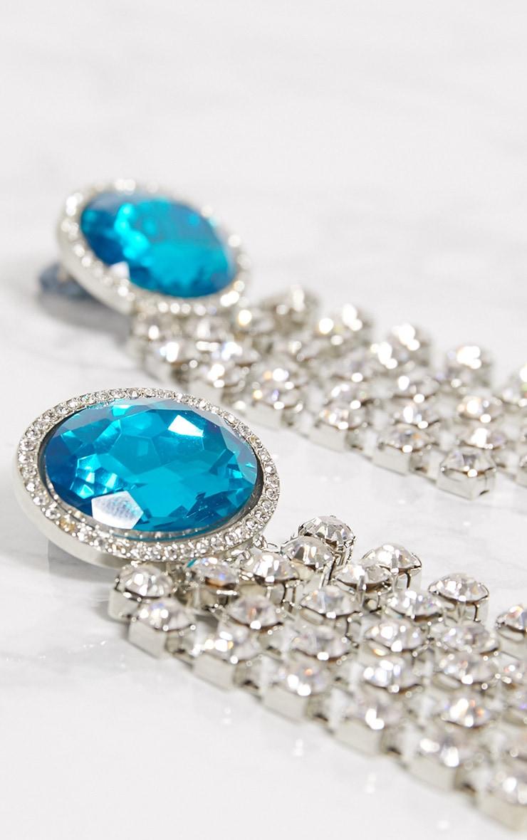 Blue Diamante Tassel earrings 4