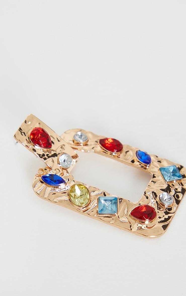 Gold Multi Gemstone Door Knocker Earrings 3