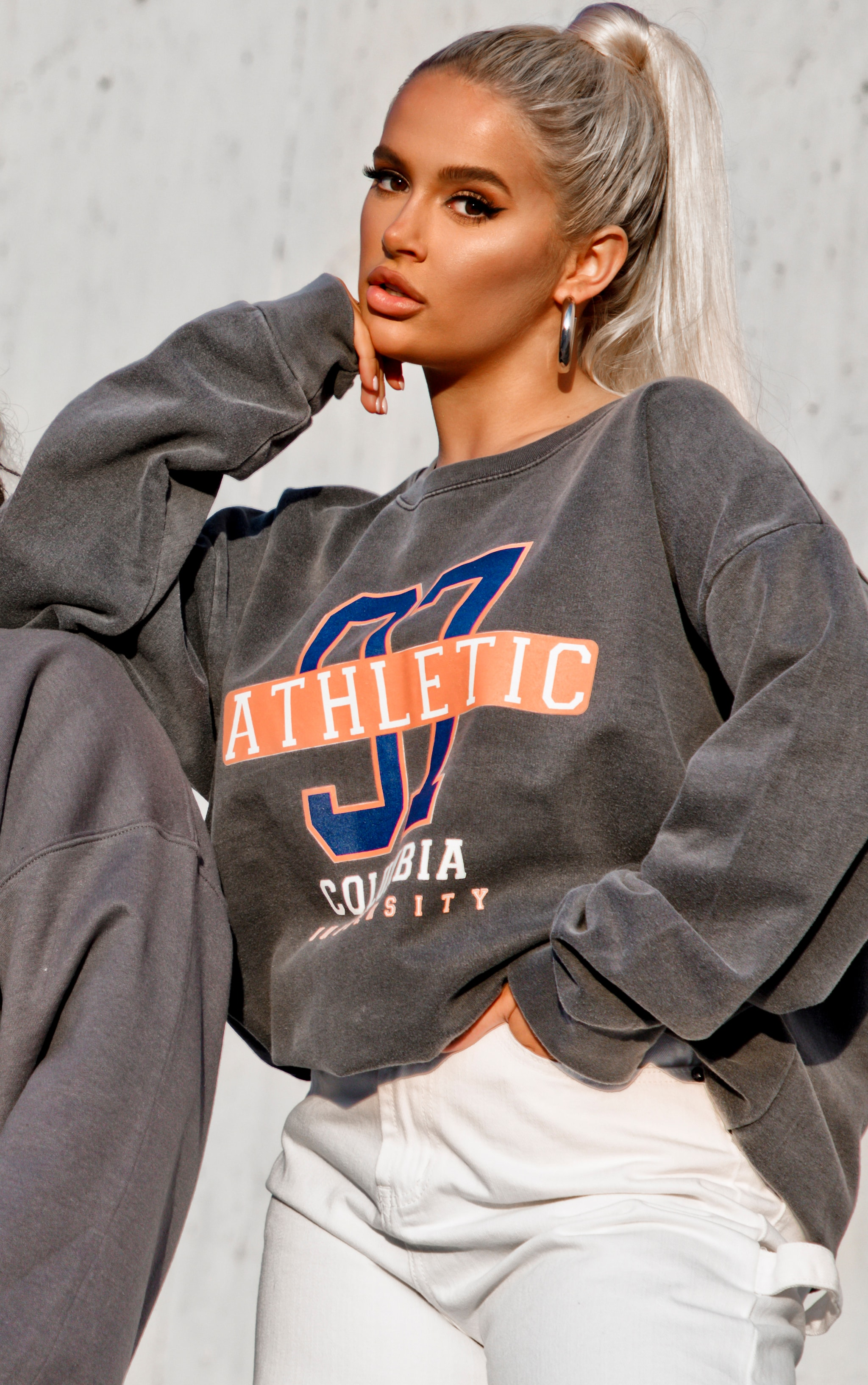 Charcoal 97 Athletic Slogan Sweater 5