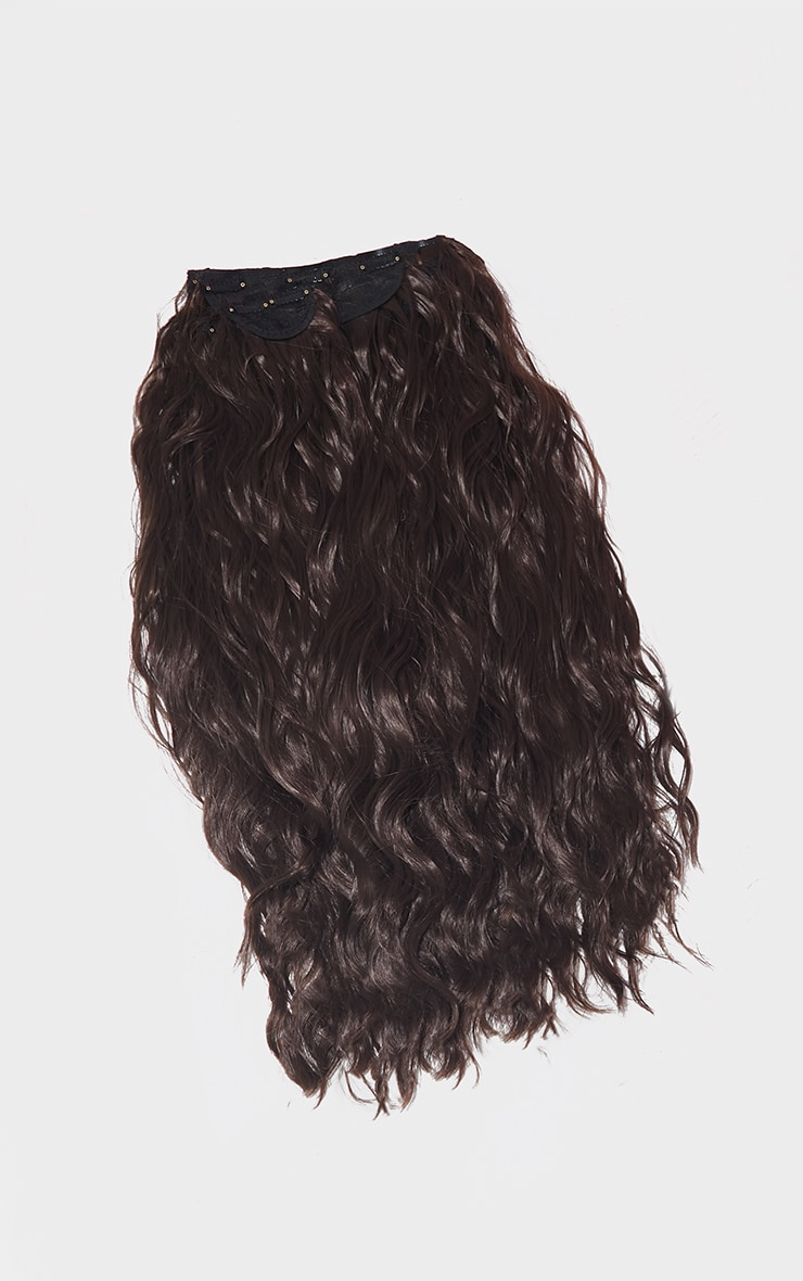 LullaBellz Super Thick 26` 5 Piece Textured Wave Clip In Hair Extensions Chocolate Brown 5