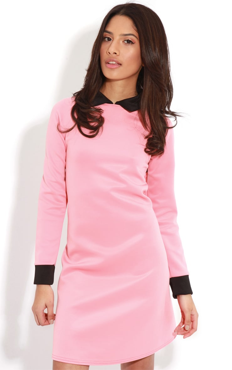 Evelyn Coral Long Sleeved Collar Dress 4