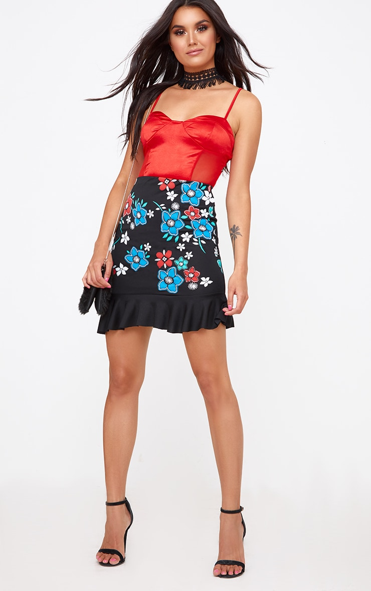 Black Embroidery Printed Frill Hem Mini Skirt 4