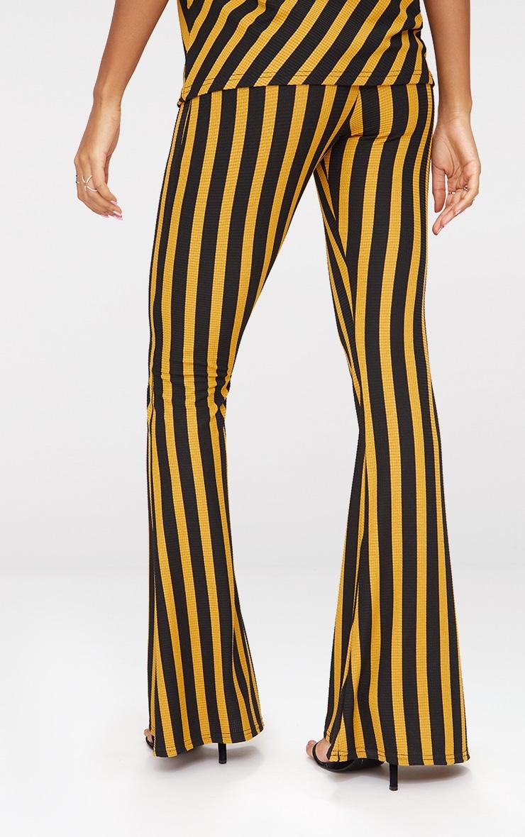 Mustard Vertical Stripe Flare Trouser  4