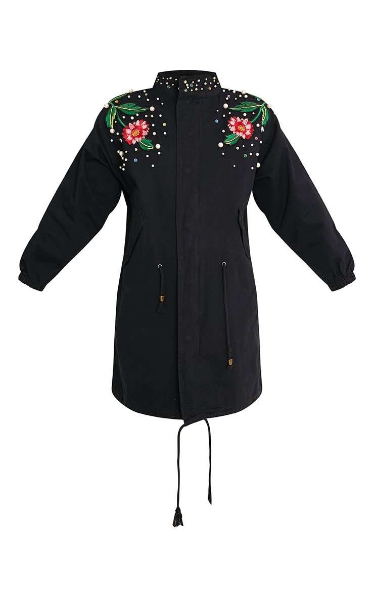 Lynelle Black Pearl Floral Badge Light Weight Jacket 3