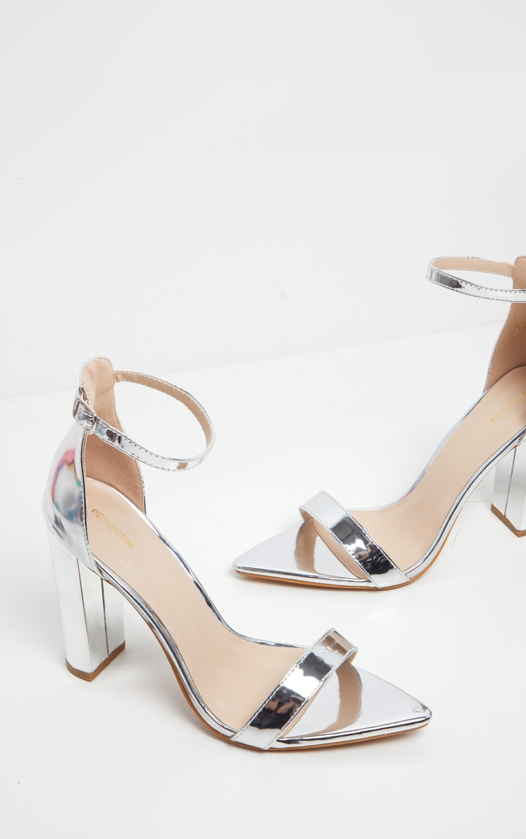 Silver Point Toe Block Heel Strappy Sandal 3
