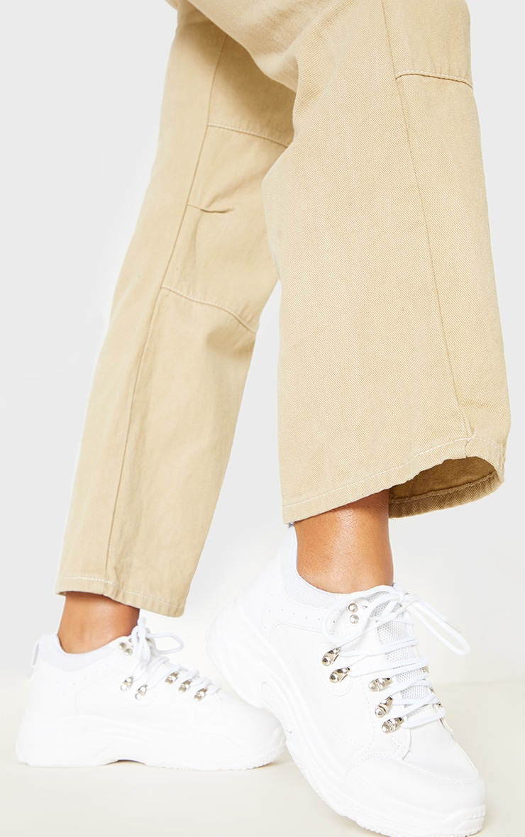 Hiker White Lace Chunky Trainer  1