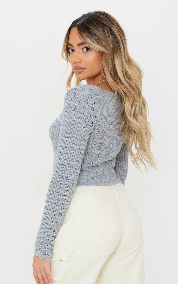 Petite Grey Pearl Knit Long Sleeve Knitted Top 2