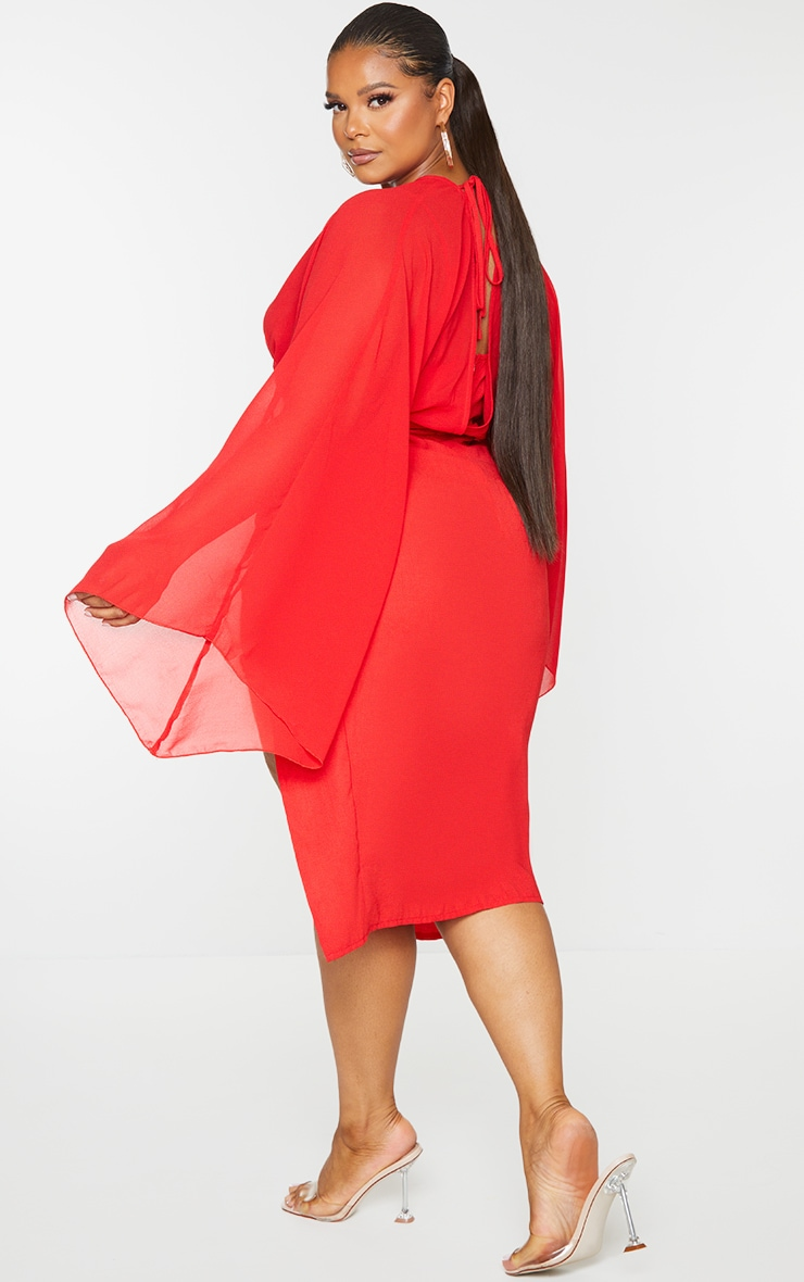 Plus Red Chiffon Cut Out Split Midi Dress 2