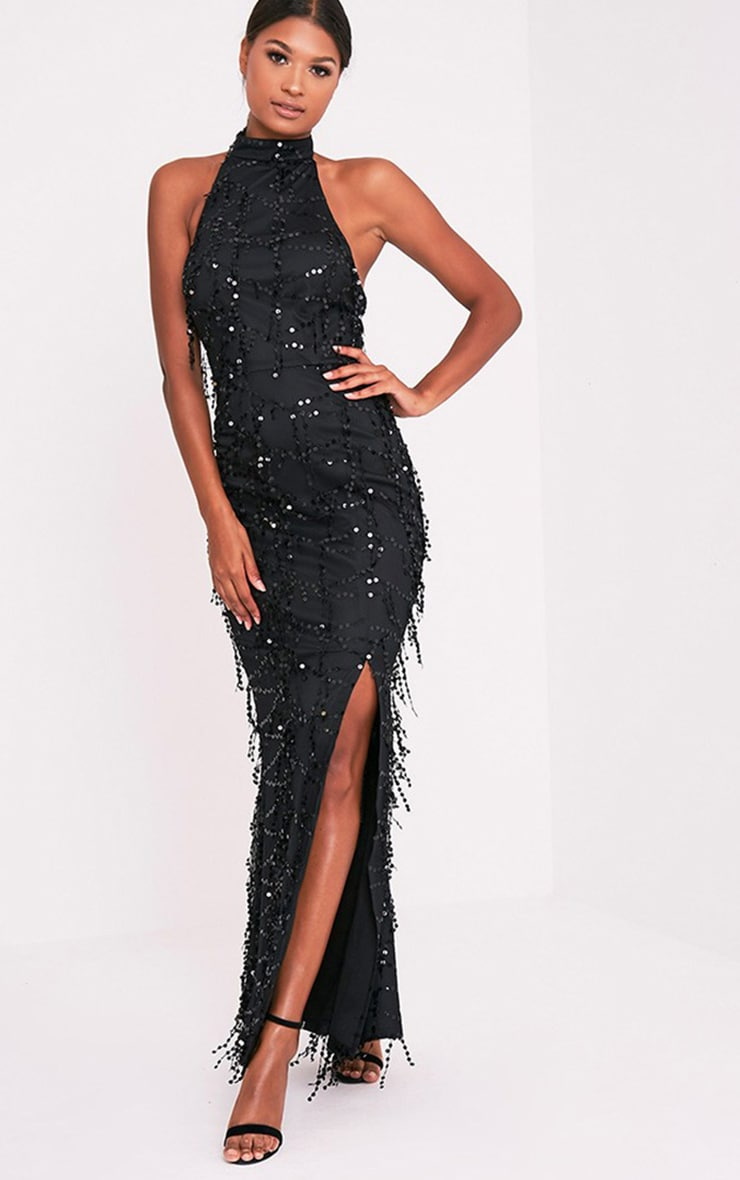 Maya Black Sequin Fishtail Maxi Dress 1