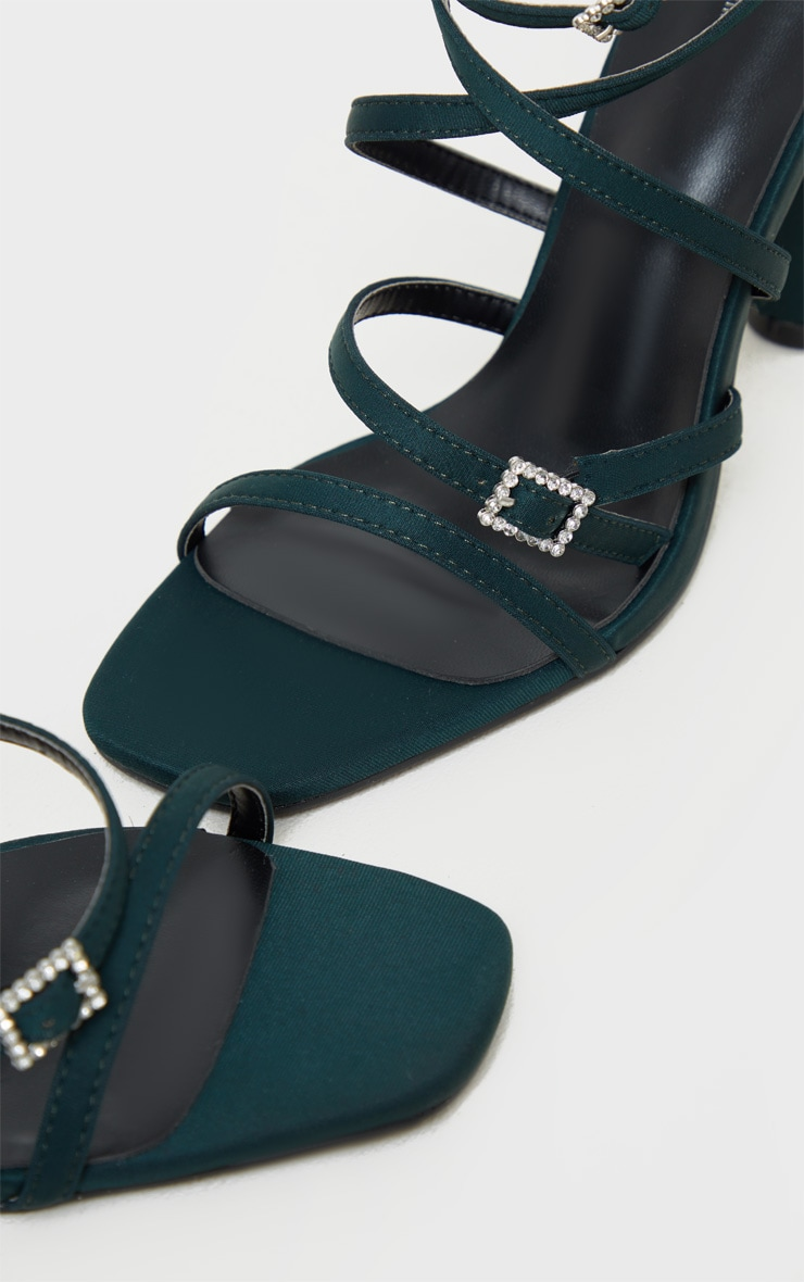 Teal Cylinder Heel Diamante Buckle Strappy Sandal 4