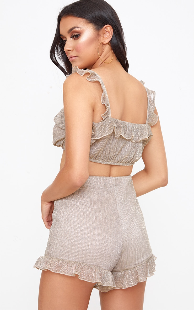 Gold Metallic Frill Strappy Crop Top 2