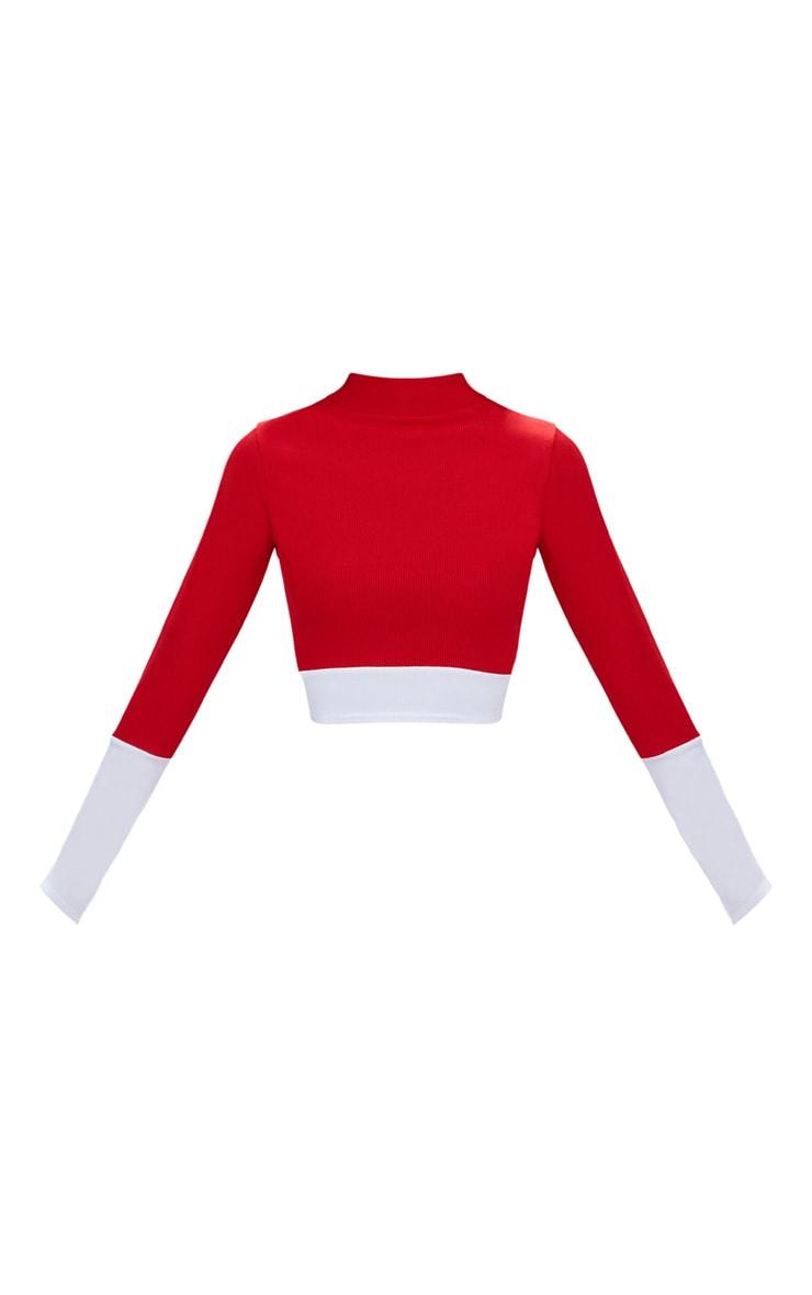 Red Rib Contrast Long Sleeve Crop Top  3