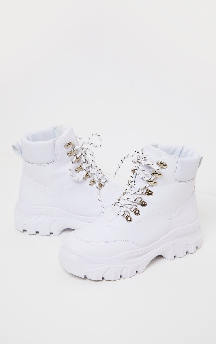 White Flatform Chunky Hiker Boot Sneakers 3