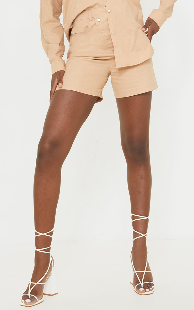 Tall Stone Linen Look Asymmetric Shorts 2