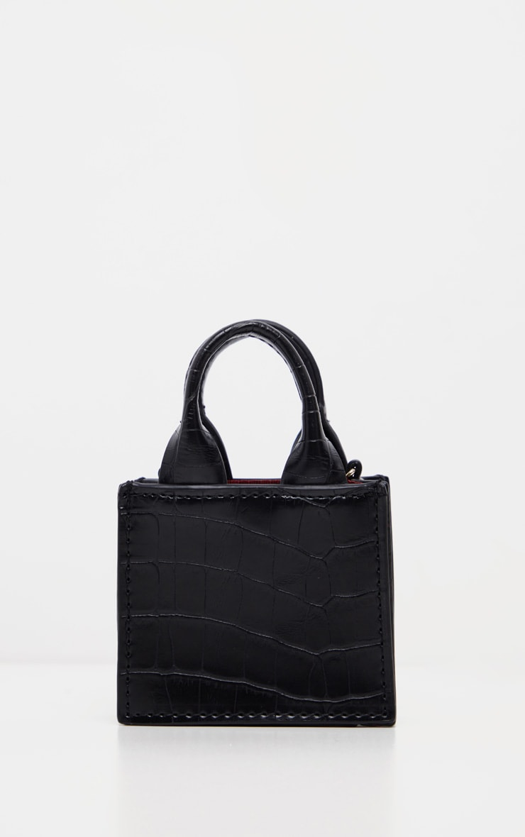 Black Croc Micro Mini Chain Bag 3